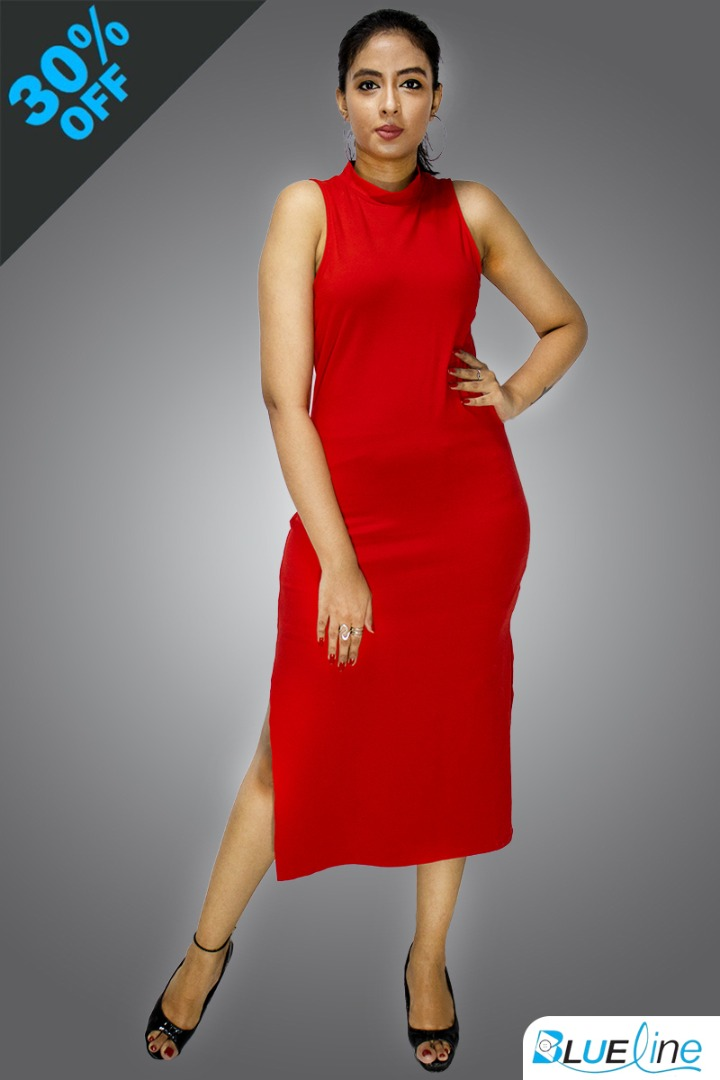 Red Color Women Bodycon Bandage Dress 017#309